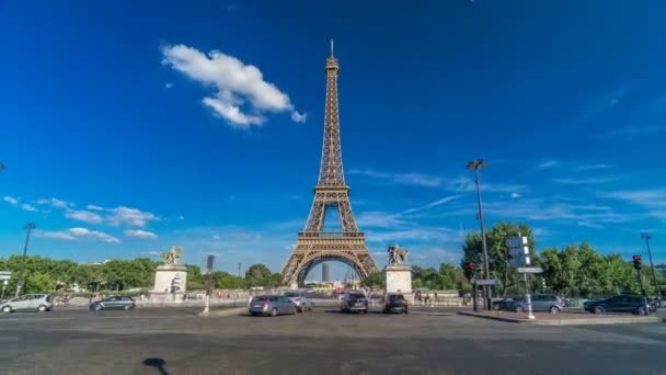 Eiffel Tower with bridge over Siene river in Paris timelapse hyperlapse, France