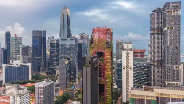 Letecký pohled na čínské čtvrti a Downotwn v Singapuru dne noční timelapse