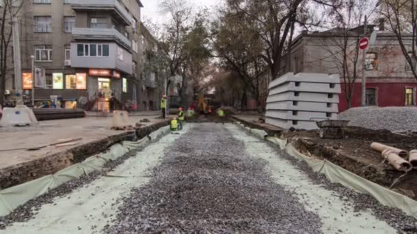 Buldozer práce na stavbě silnice timelapse