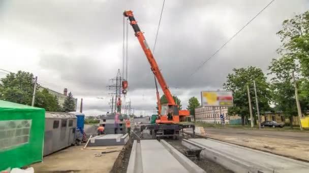 Uvolňování betonové desky na silnici stavební lokality timelapse