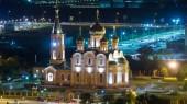 Mikuláše z města Aktobe v noci timelapse. Letecký pohled shora z výše. Kazachstán