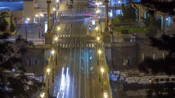 Čechova mostu noční pohled z Letenské zahradě timelapse