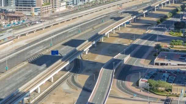 Sheikh Zayed Road traffic in Dubai Marina and Jumeirah Lakes Towers districts timelapse