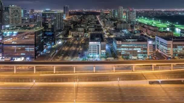 Tecom, Barsha und Greens Bezirke Luftaufnahme aus dem Internet Stadt Zeitraffer