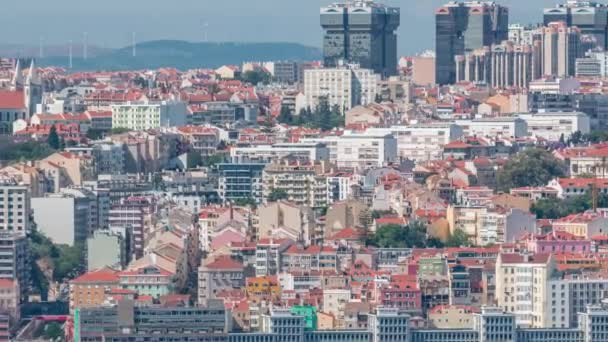 Panorama of Lisbon historical centre aerial timelapse viewed from above the southern margin of the Tagus or Tejo River.