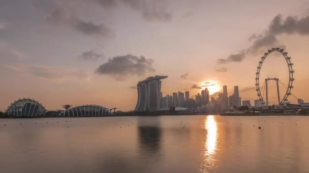 Sunset over the downtown skyline of Singapore as viewed from across the water from The Garden East timelapse. Singapore.