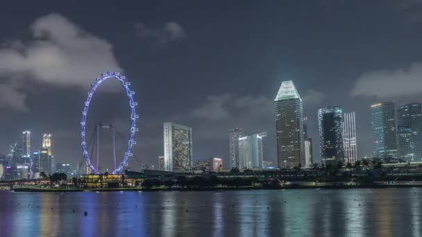 Downtown skyline of Singapore as viewed from across the water from The Garden East night timelapse. Singapore.