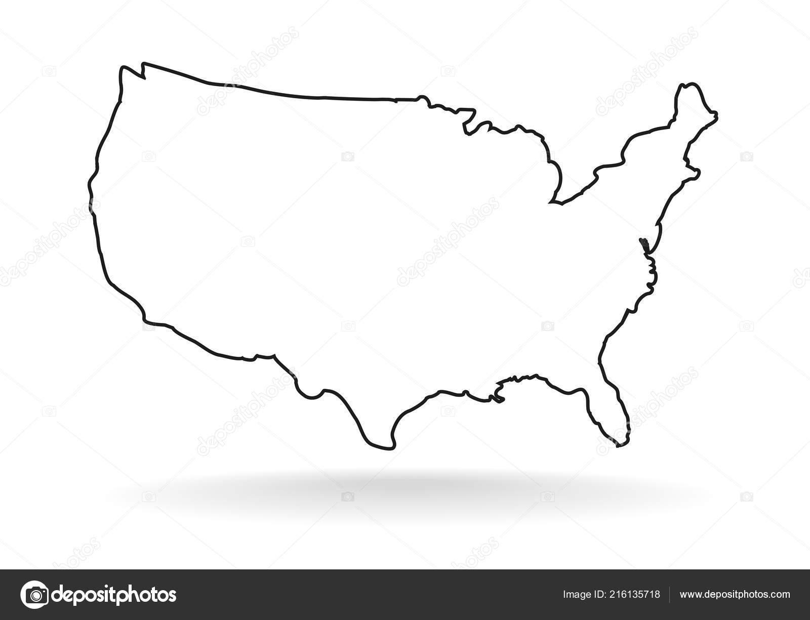 Usa Map Icon Outline Style White Background — Stock Vector © 4zeva ...