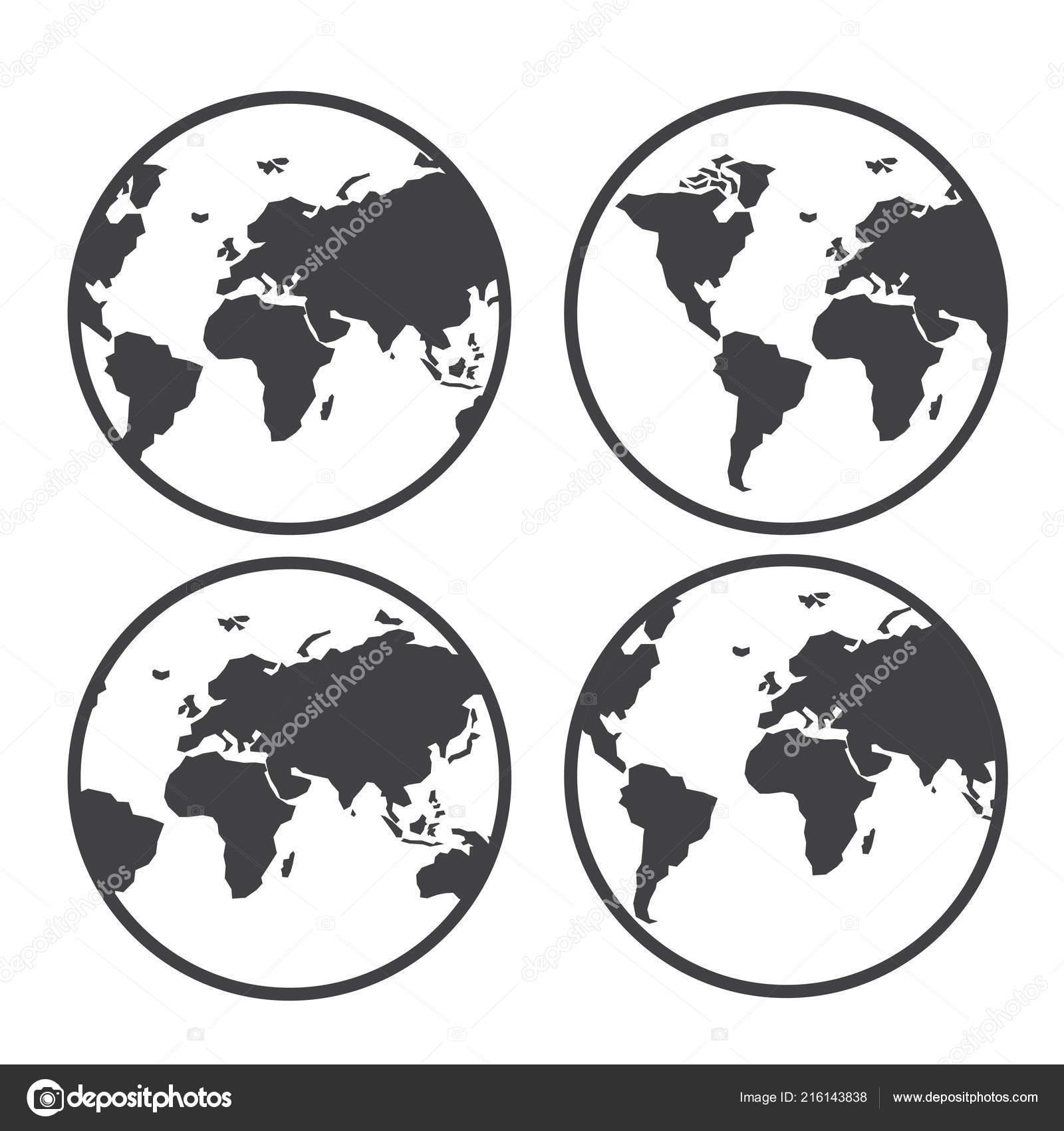 Globe World Map Vector Icon White Background — Stock Vector