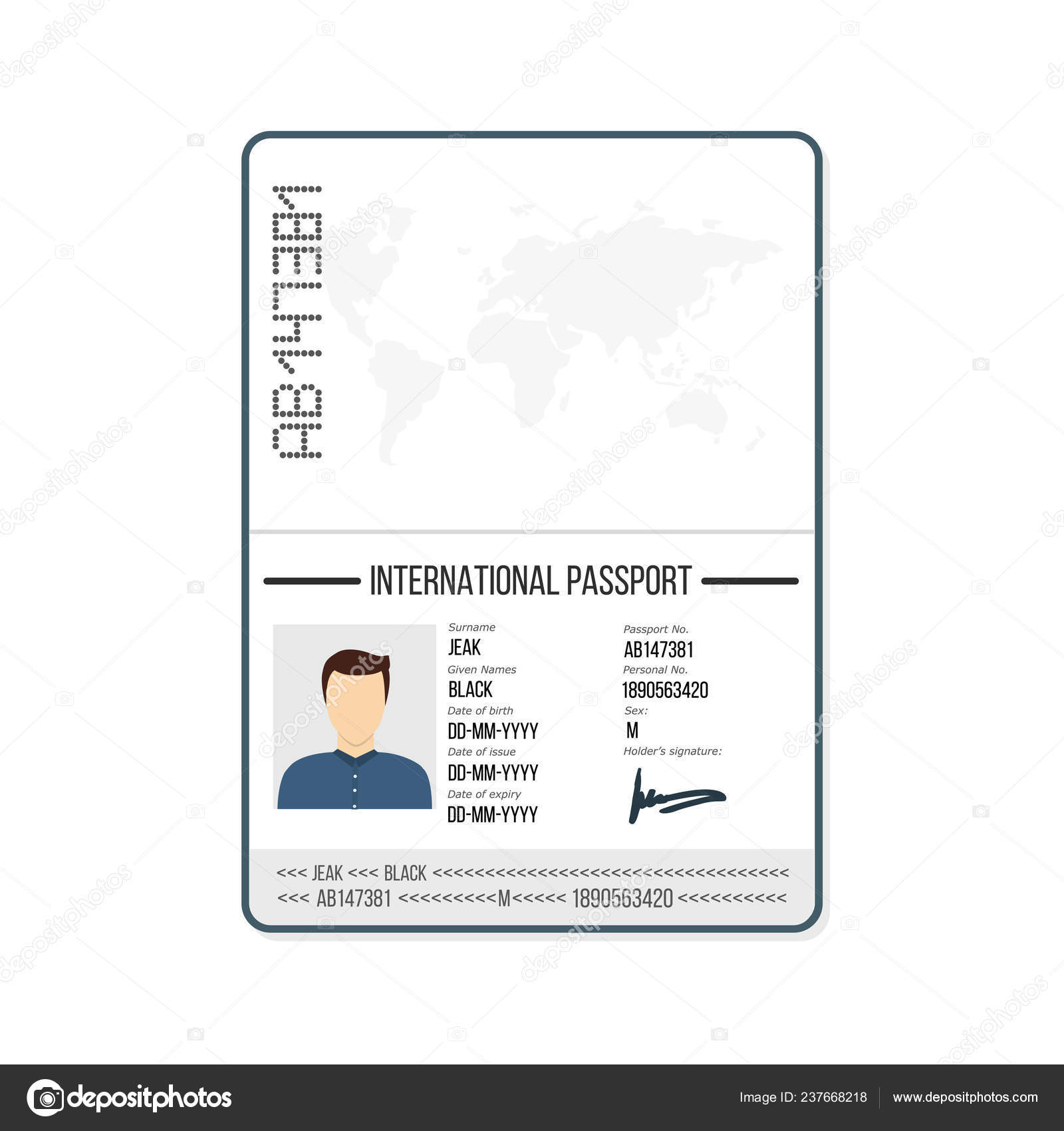 International Male Passport Template Photo Vector