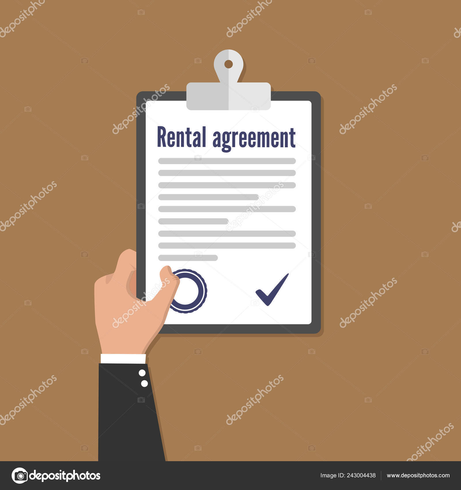 Rental Agreement Form Contract Signing Document Vector Flat
