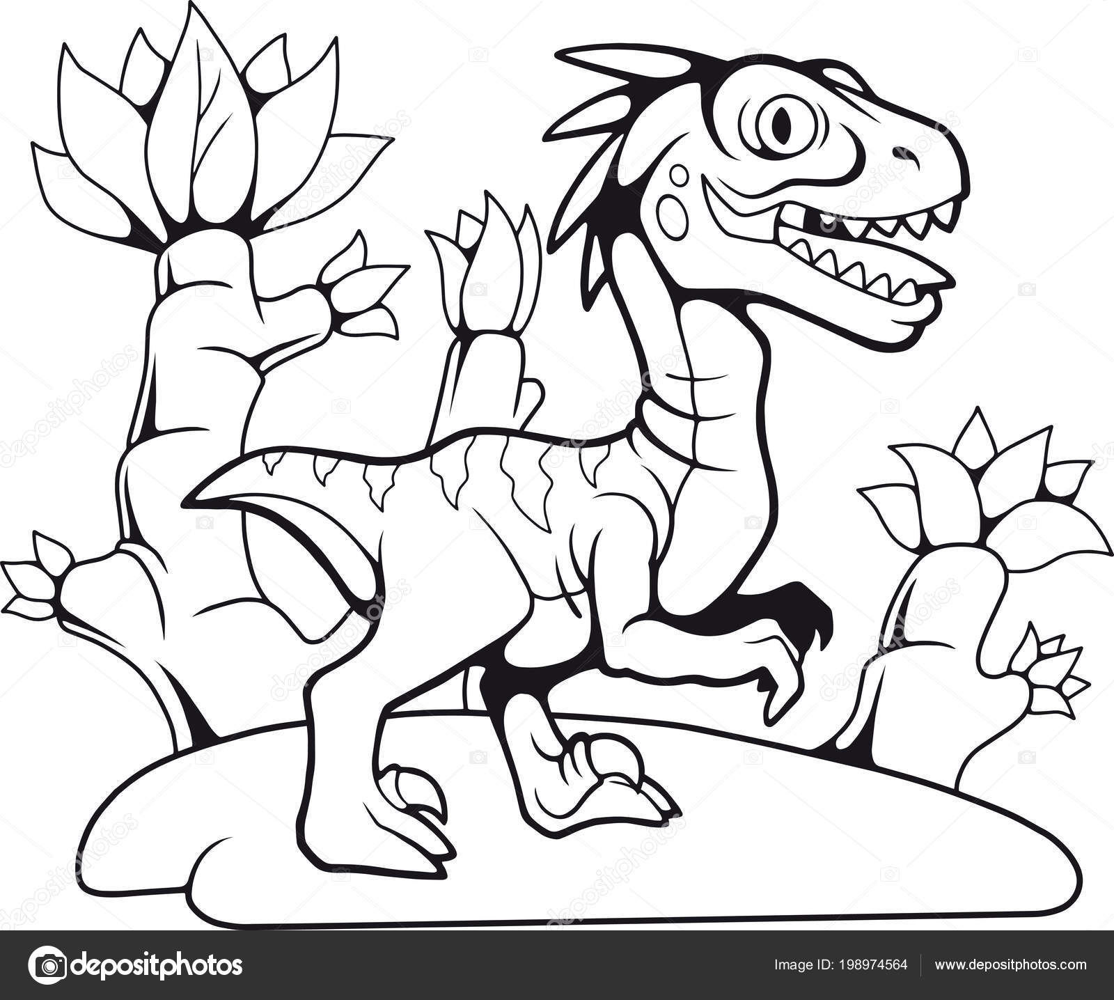 Dibujos Animados Divertida Prehistórico Velociraptor Dibujo Contorno ...