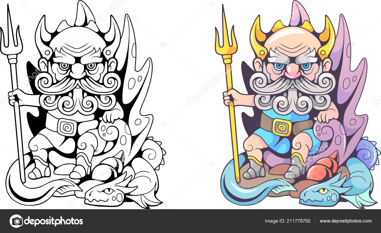 Kreslene Vtipy Staroveky Recky Buh Poseidon Sedi Trunu Stock