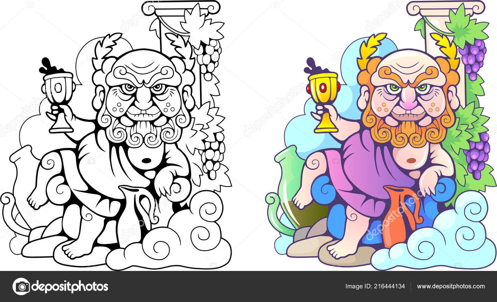 Dieu Grec Dionysos Illustration Drôle Coloriages Dessin