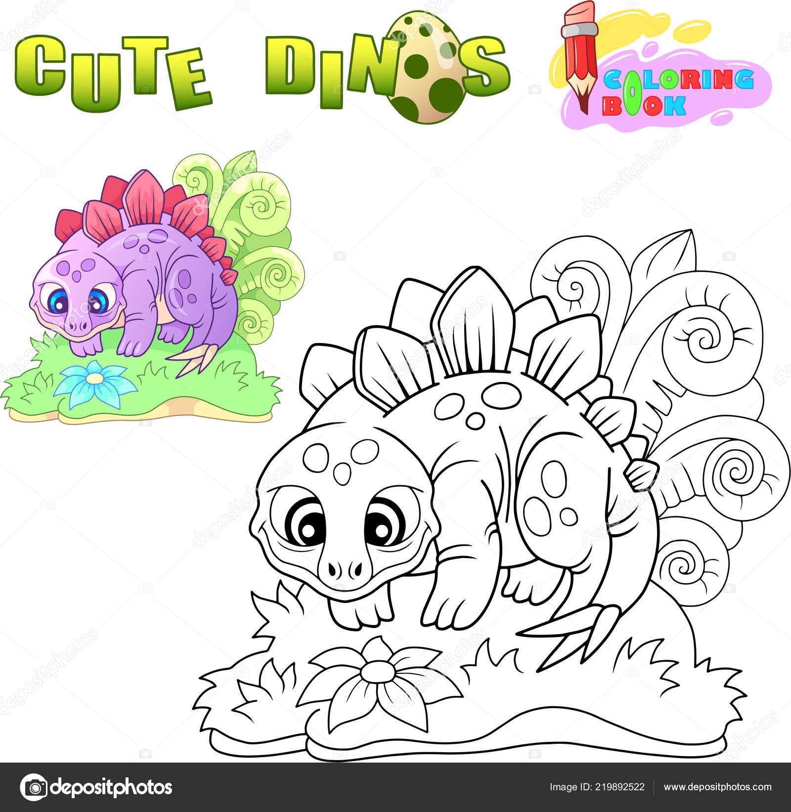 cute stegosaurus, funny illustration coloring book — Stock Vector ...