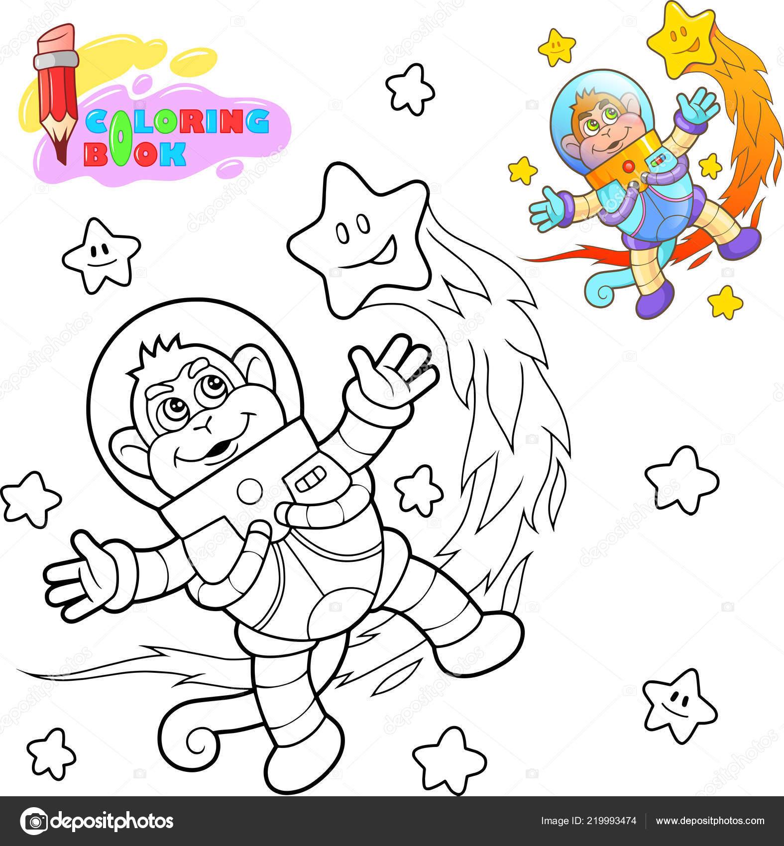 astronauta de macaco bonito voa entre as estrelas livro para