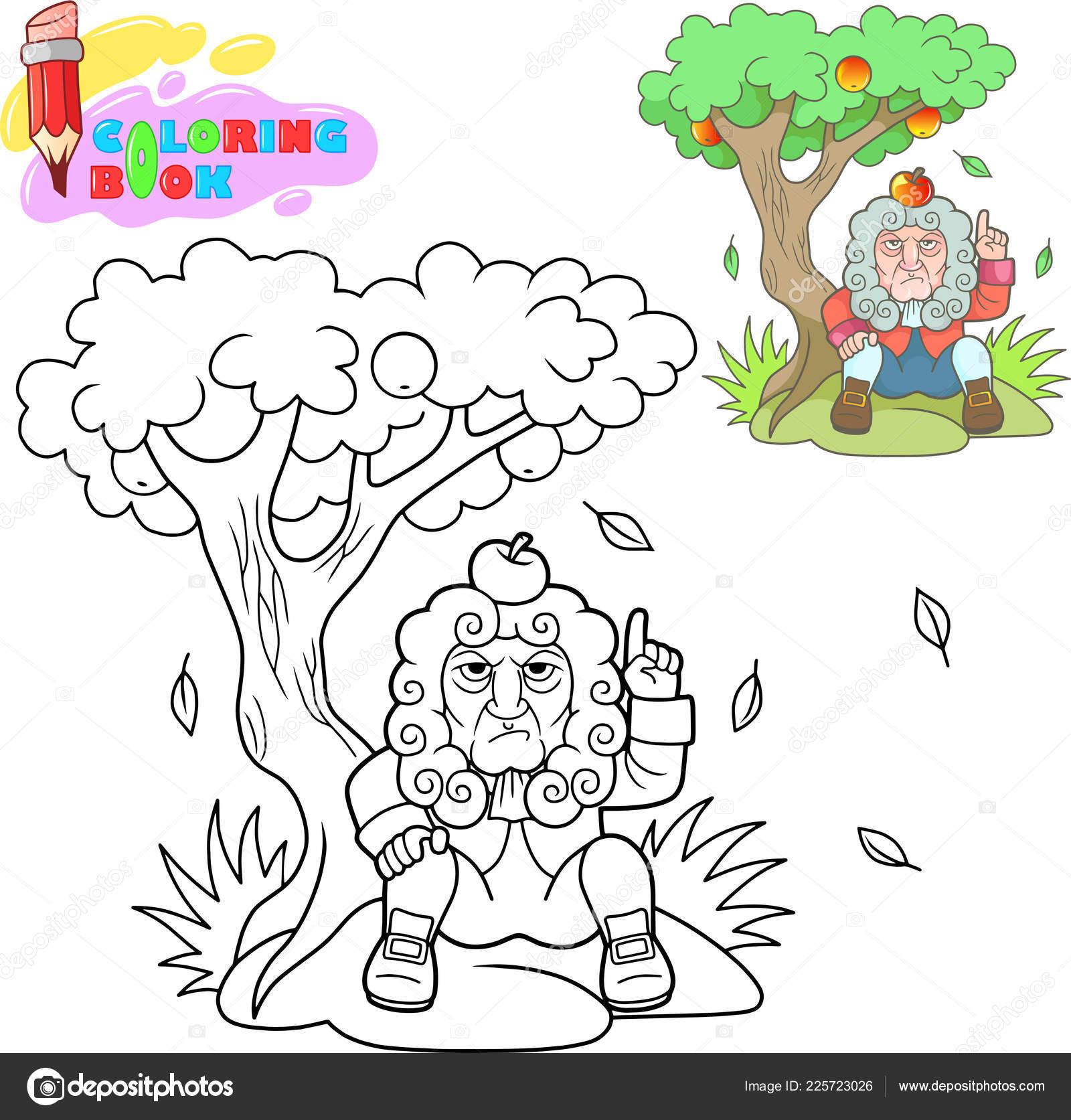 Newton Kafasına Elma Bir Ağacın Altında Oturup Kitap Boyama çizgi