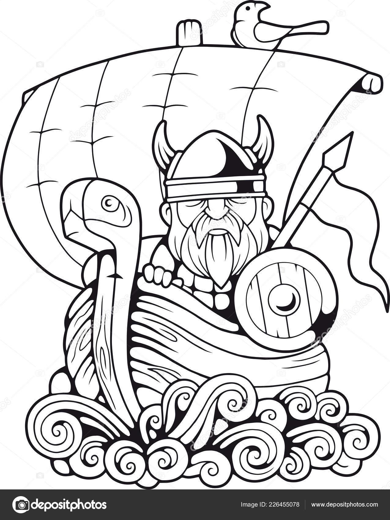 Cartoon Funny Viking Floating Ship Coloring Book Stock