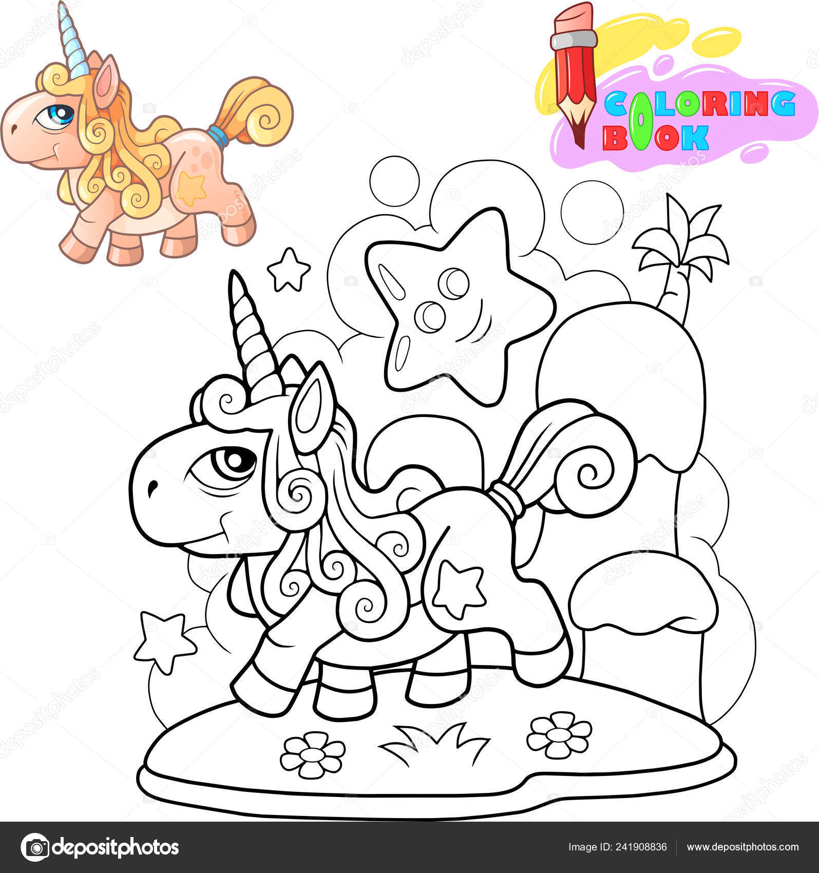 Coloriage Petit Dessin Anime.Petit Dessin Anime Licorne Mignon Poney Coloriages Illustration