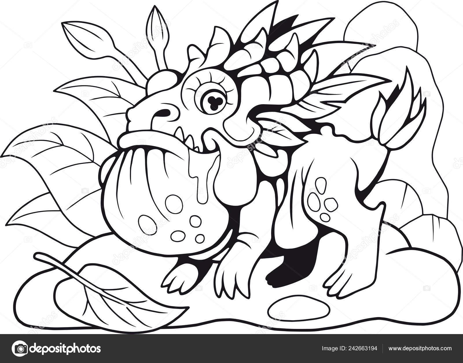 Mignon Petit Crapaud Dragon Coloriages Illustration Drole Image Vectorielle Fargon C 242663194