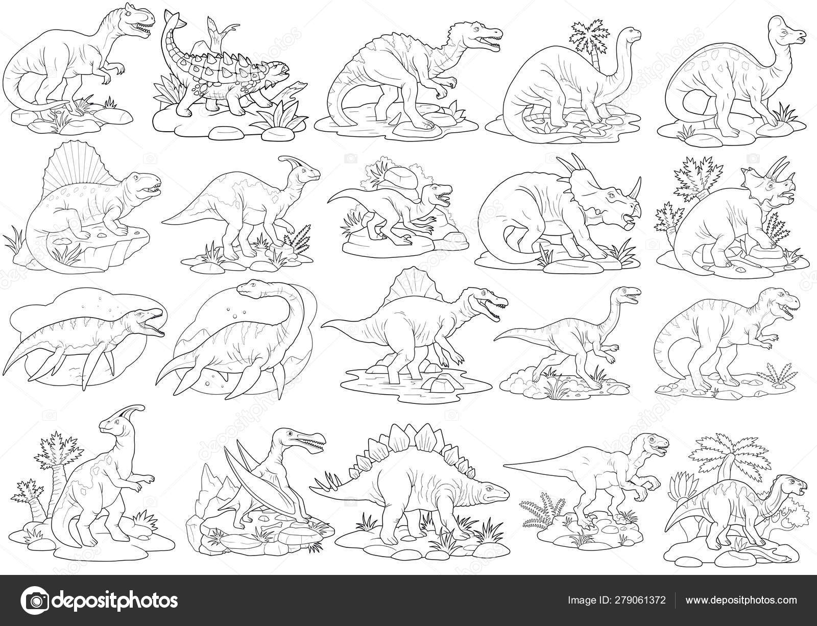 Dinosaurs Coloring Book Set Of Images Stock Photo Image By C Fargon 279061372
