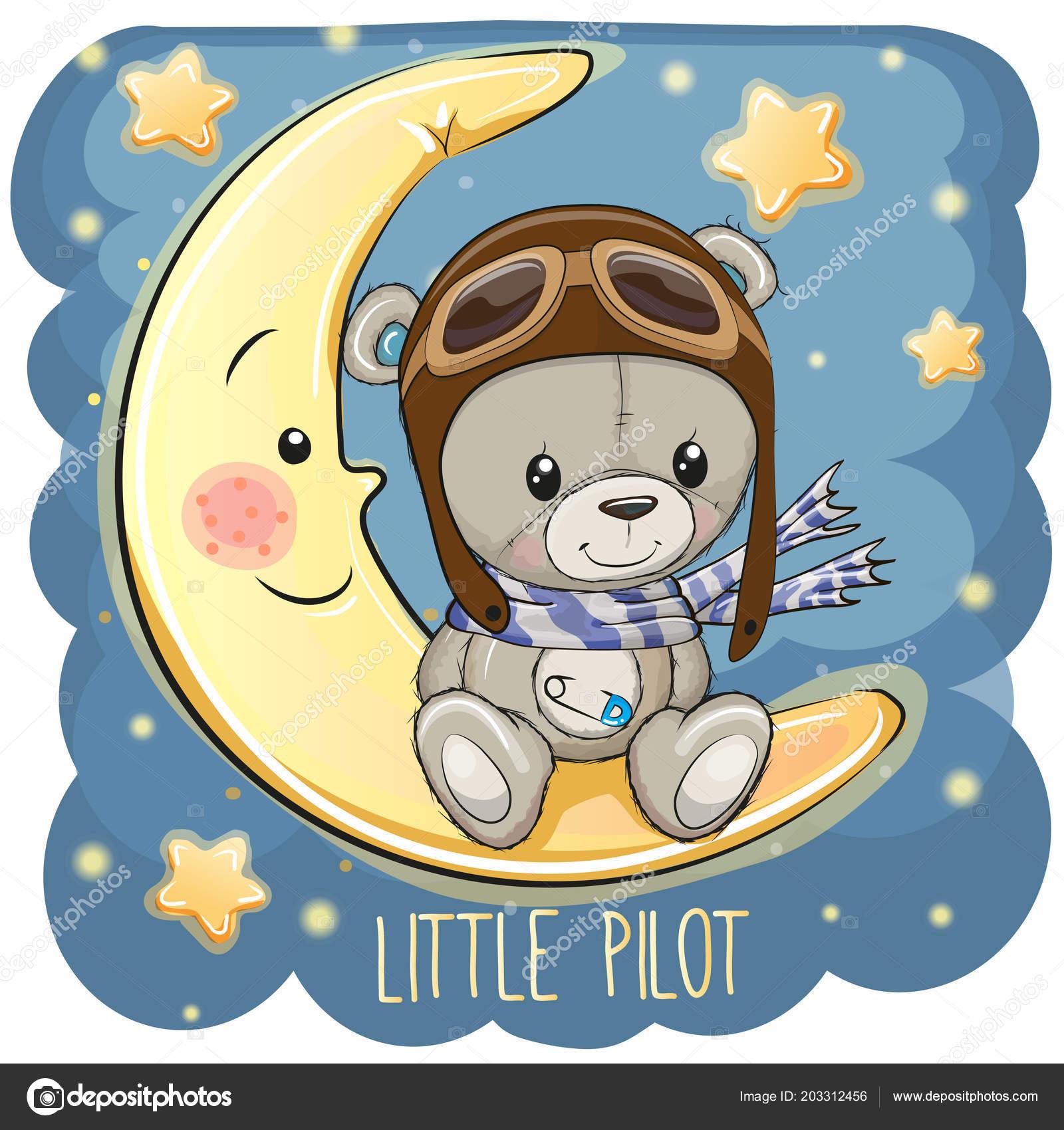 Orsacchiotto sveglio in un cappello pilota è seduto sulla luna