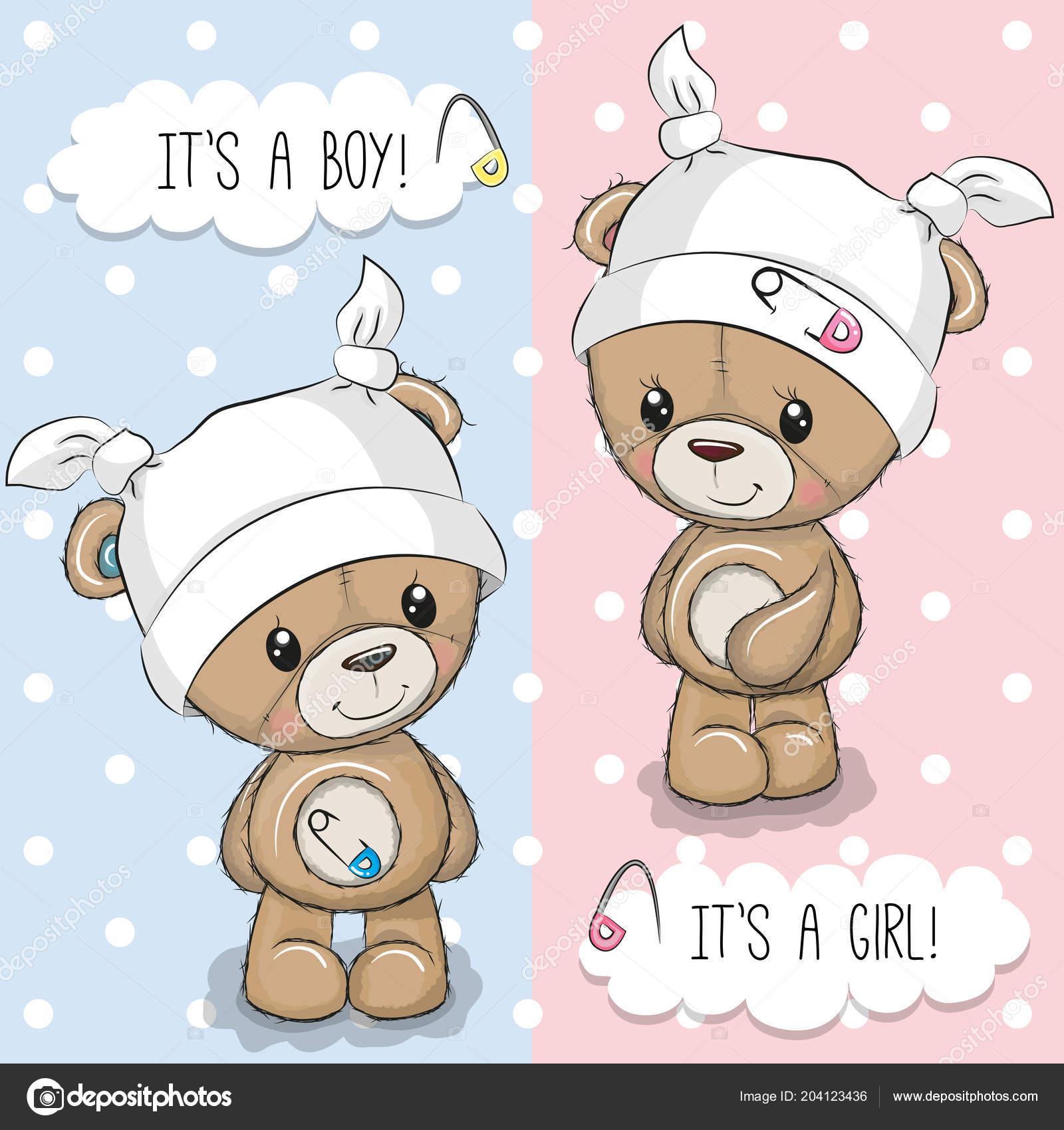 Baby Shower Greeting Card Teddy Bears Stock Vector