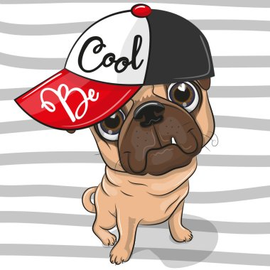 Cute Cartoon Pug Dog with a red cap on striped background