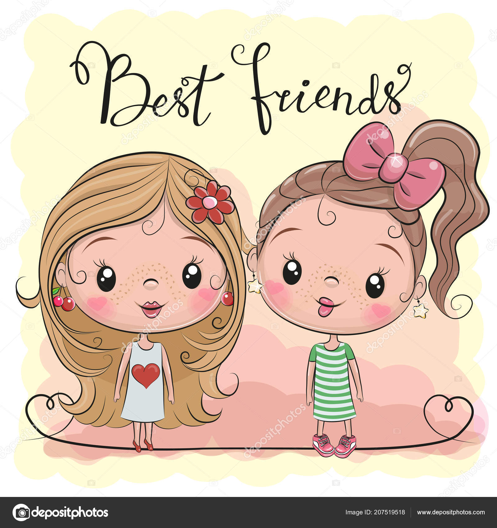 Two Friends Cute Cartoon Girls Yellow Background Stock Vector
