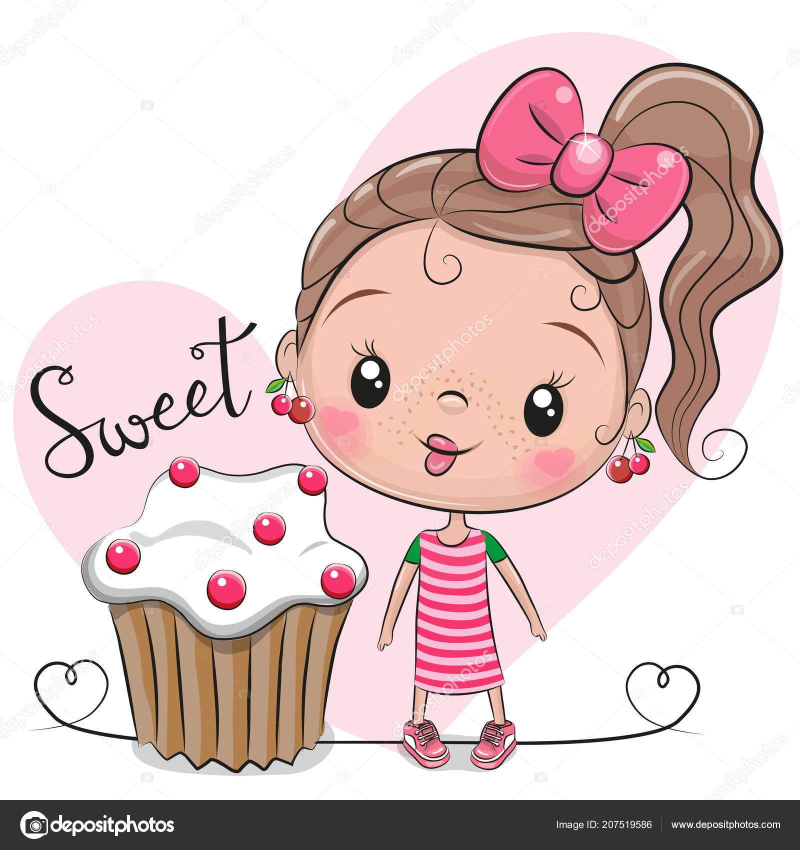Greeting Card Cute Cartoon Girl Cake Stock Vector Reginast777