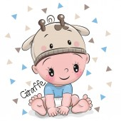 Fotografia Ragazzo sveglio del bambino del fumetto in un cappello di giraffa su una priorità bassa bianca