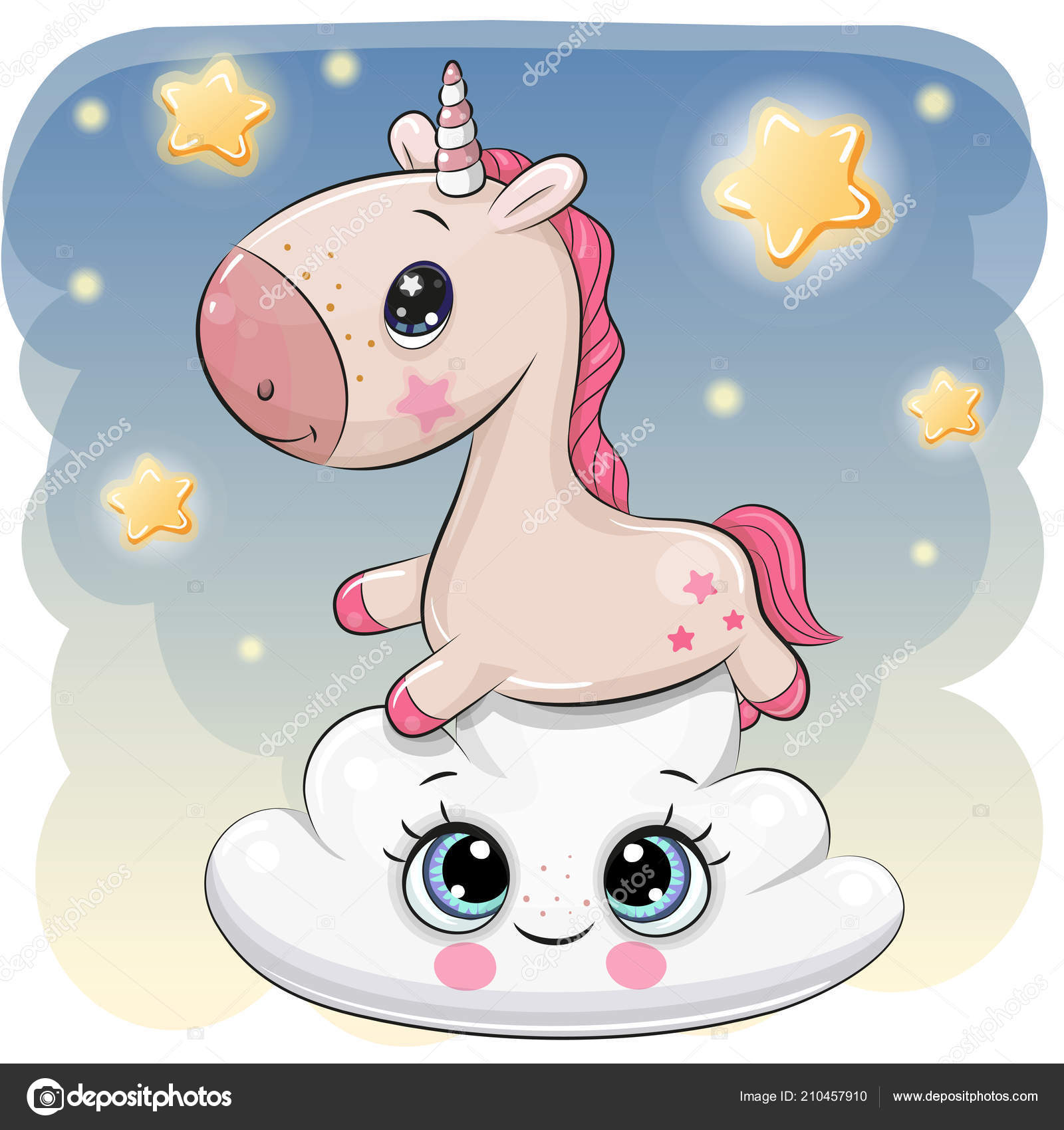cute unicorn cartoon - HD1600×1700