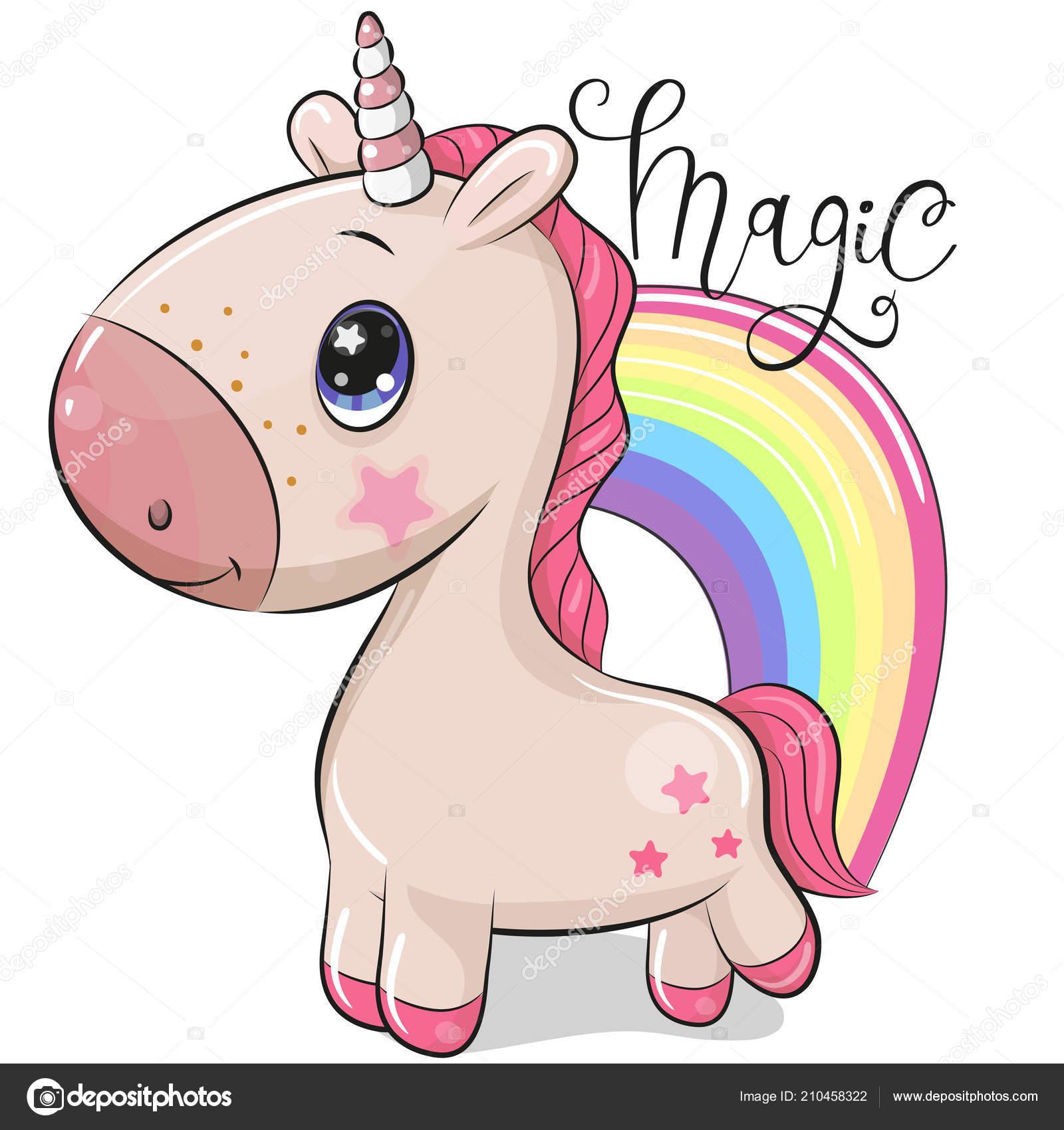 Unicorno Del Fumetto Sveglio Rainbow Isolato Sfondo Bianco