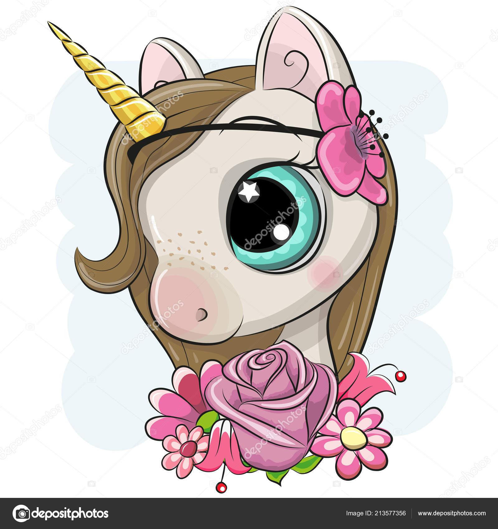 cute cartoon unicorn flowers blue background stock vector