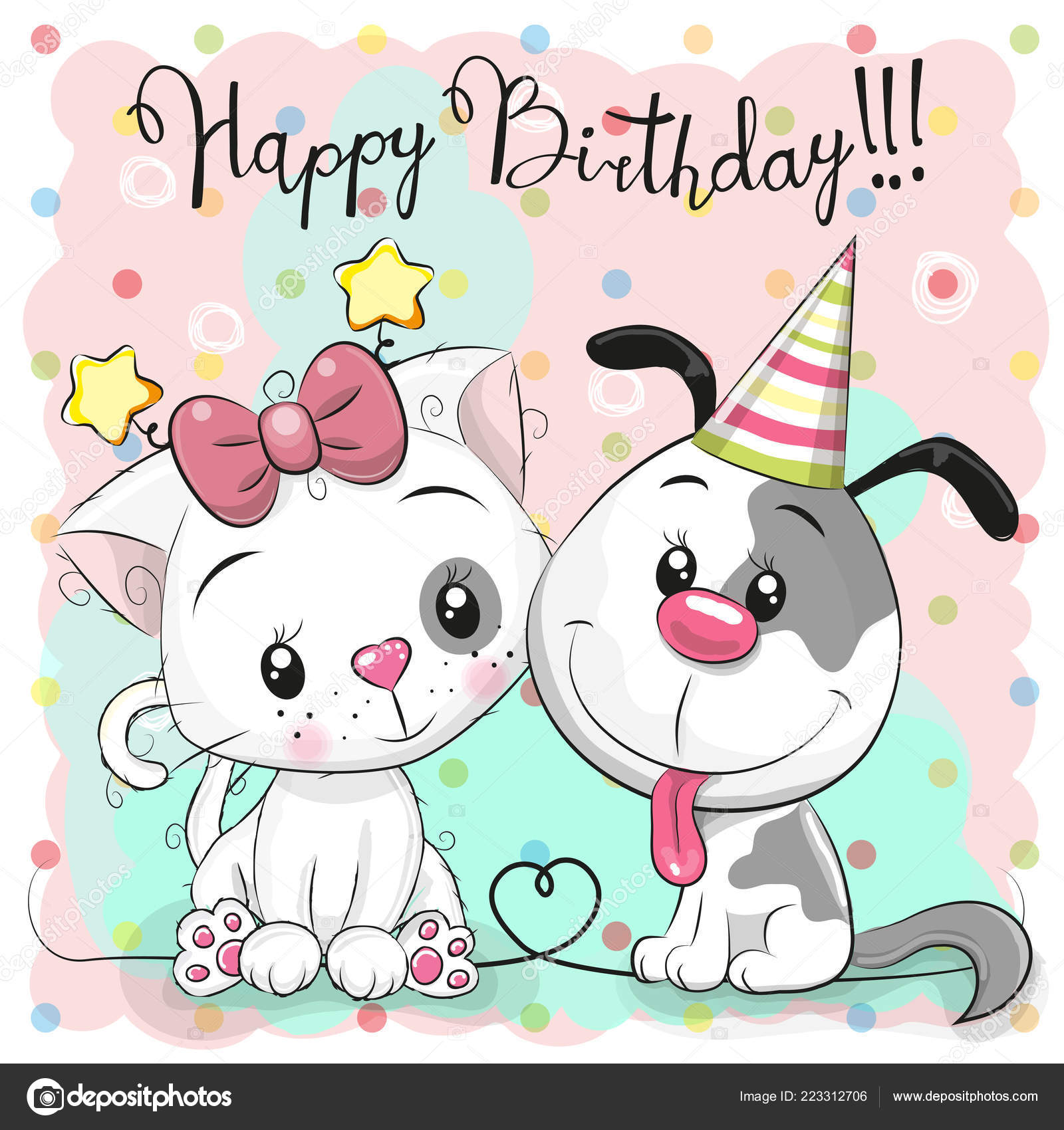 Greeting Birthday Card Cute Cartoon Cat Dog Stock Vector