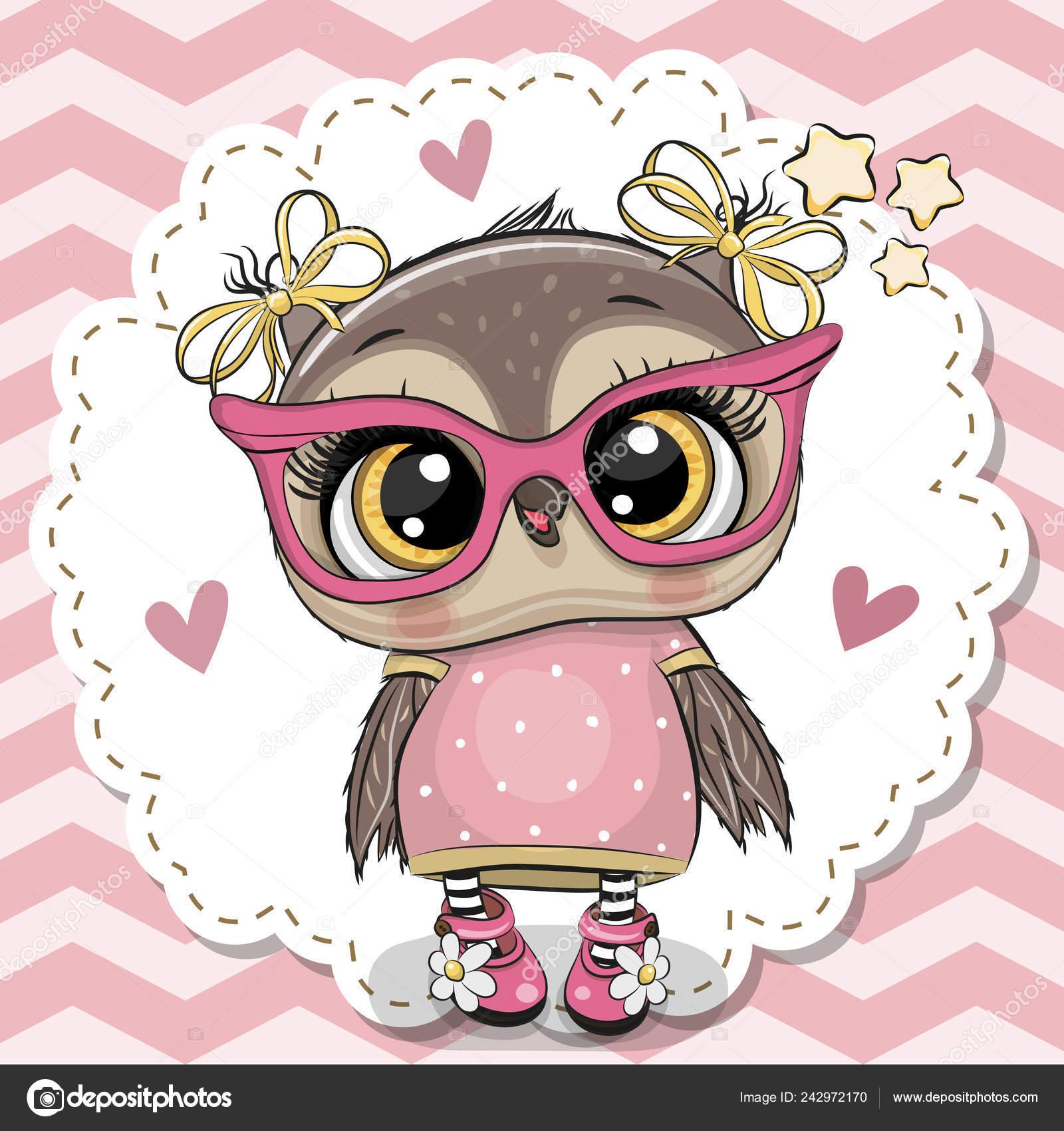 Cute Owl In Pink Eyeglasses Stock Vector C Reginast777 242972170
