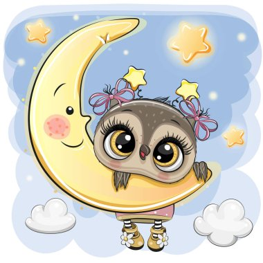 Cute Cartoon Owl Girl on the moon