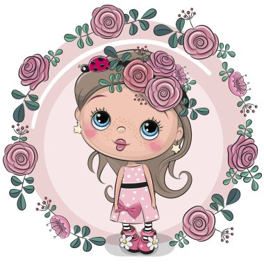 Greeting card Cute Cartoon girl with flowers on a pink background stock vector