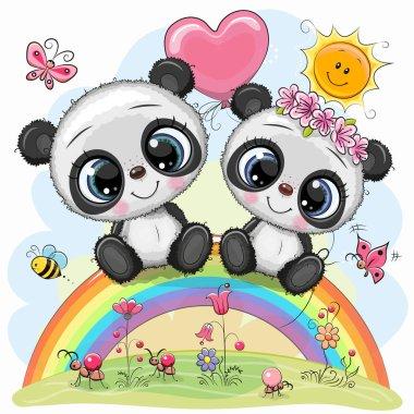 Two Cute Cartoon Pandas are sitting on the rainbow clip art vector