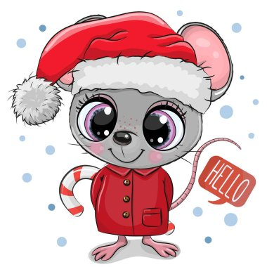 Cartoon mouse in Santa hat on a white background