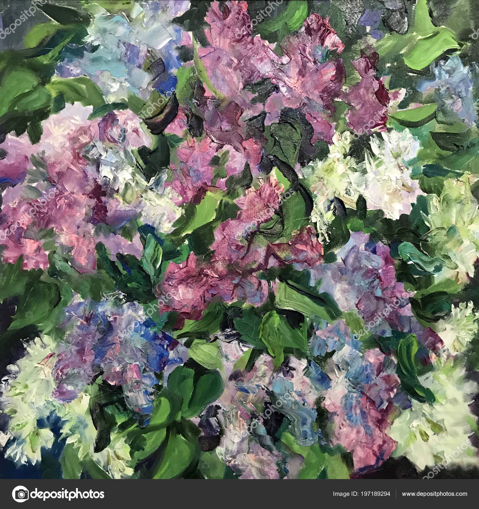 dessin fleurs violettes gros buisson lilas violet dans arbre nouveau