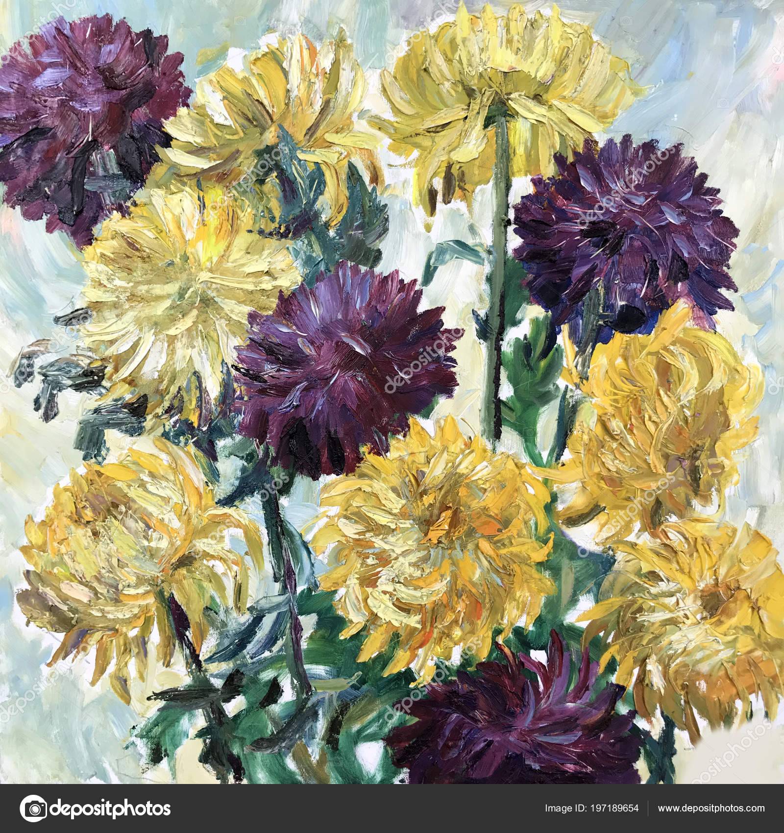 Drawing Large Chrysanthemum Buds Yellow Violet Peony Flower Bouquet