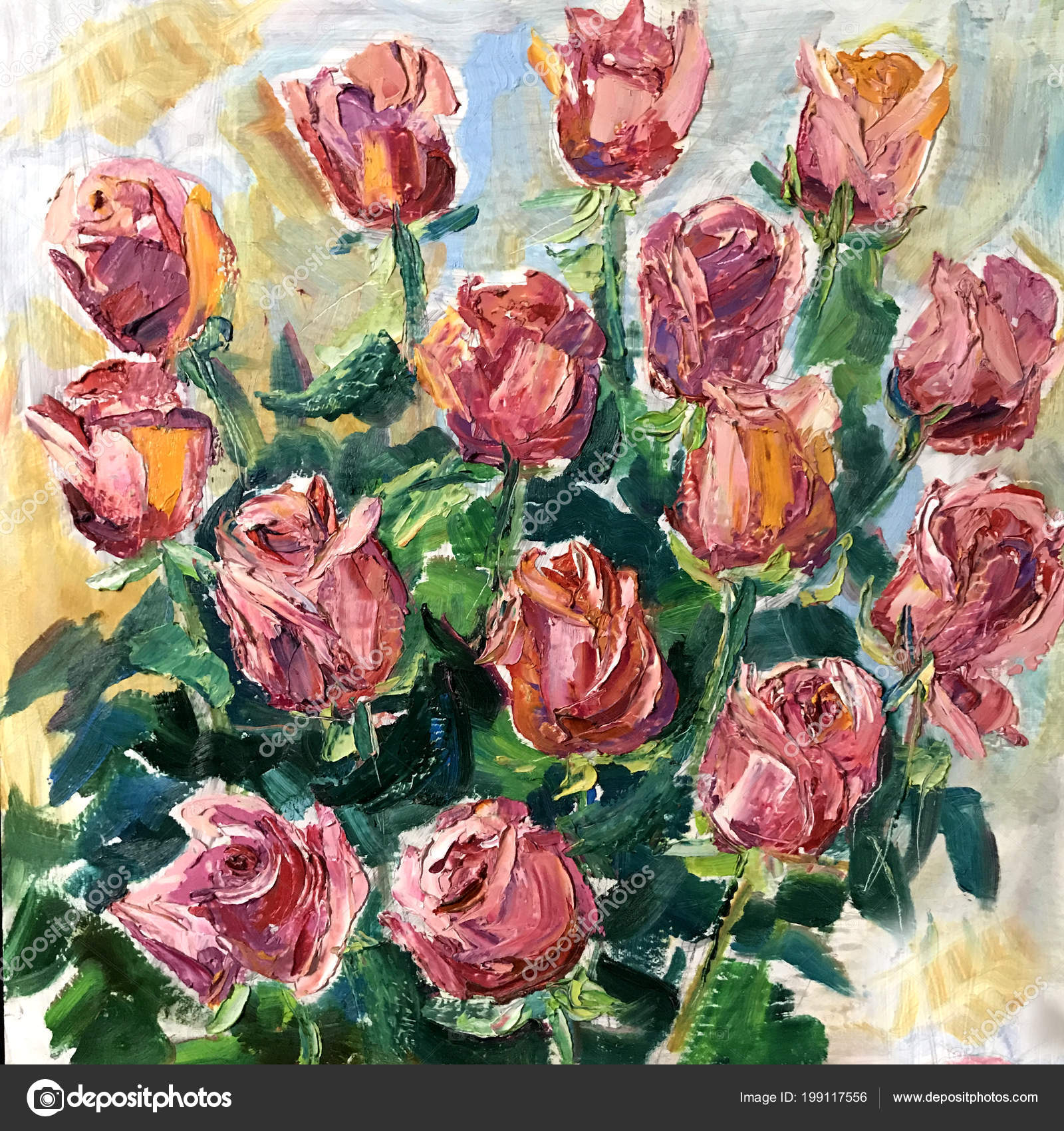 Aesthetic Flowers Drawing Drawing Pink Roses Flowers Bouquet Picture Contains Interesting Idea Evokes Stock Photo C Olgaosa 199117556