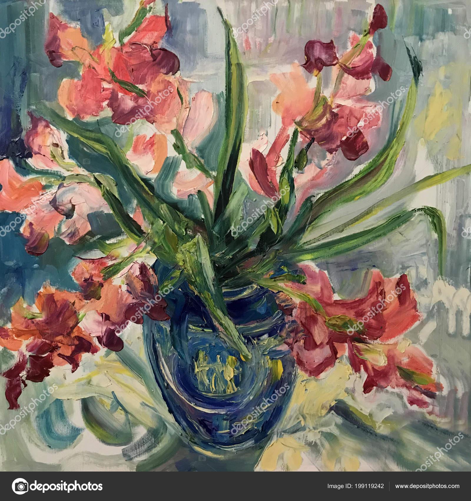 Dessin Bouquet Fleurs Glaïeul Orange Photo Contient Une Idée