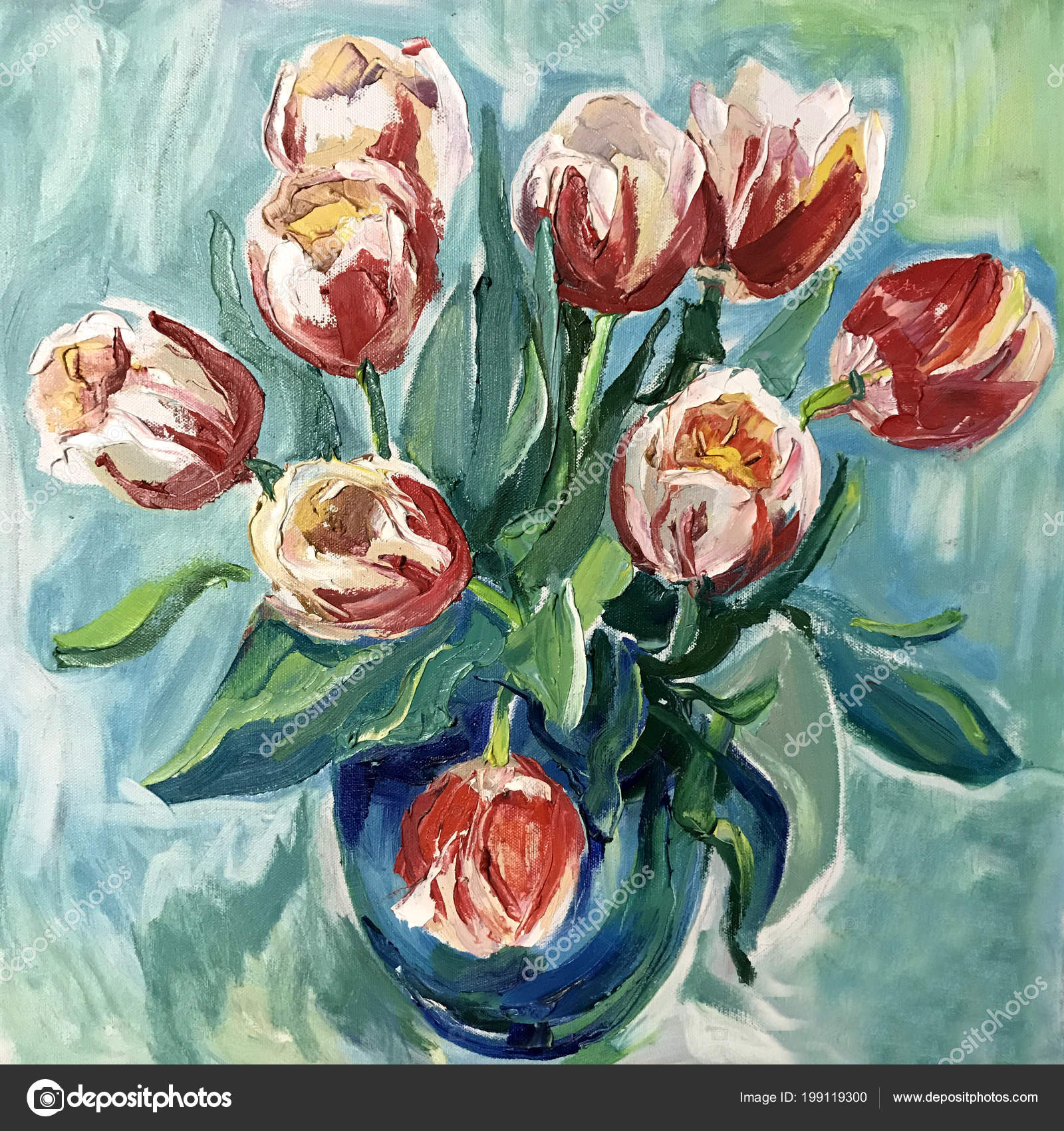 Talented Artist Painted A Still Life, Flowers In A Vase