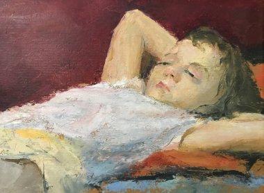 """Картина, постер, плакат, фотообои """"рисунок юной девушки, отдыхающей дома. картина содержит интересную идею, вызывает эмоции, эстетическое удовольствие. холст растянут на носилках, масляные натуральные краски. концепция художественной живописи фото фотографий примеры модульные"""", артикул 207034768"""