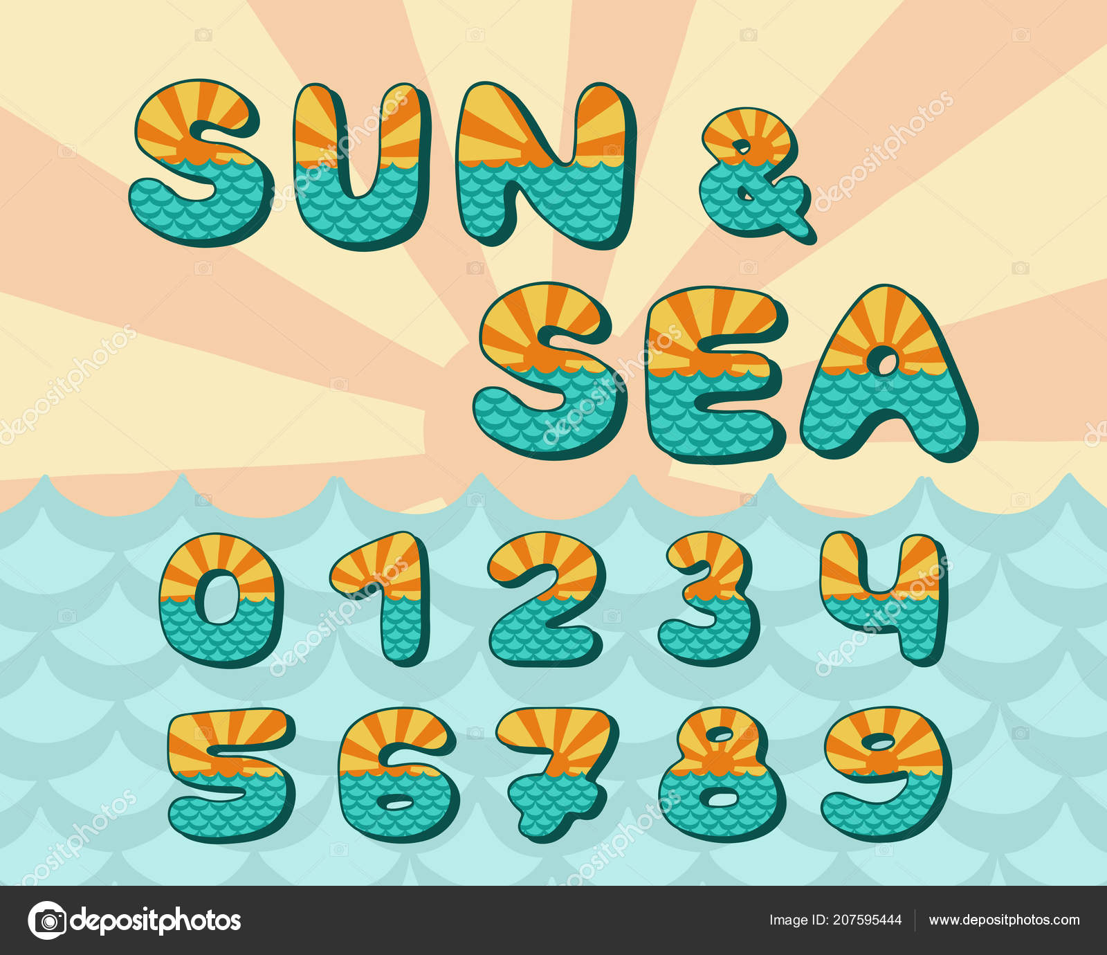 Alphabet sea horizon, vintage design. Sun rays, and sea waves ...