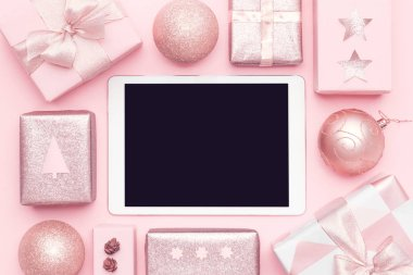 Online Shopping, Christmas Sale Concept. Boxing Day Sale Background.