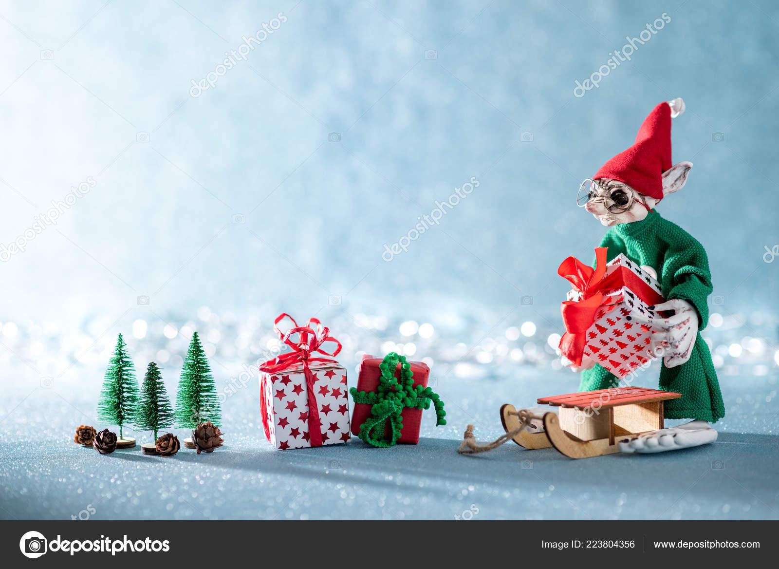Niedliche Fröhlich Santas Helfer Elf Weihnachtsgeschenke Auf Santas ...
