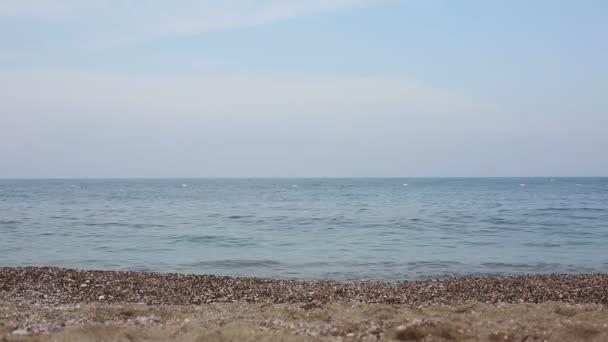 Beautiful girl running into the sea